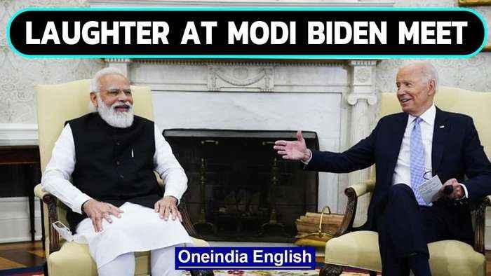 Modi-Biden laugh as they joke about Biden's relatives in India: Watch | Oneindia News