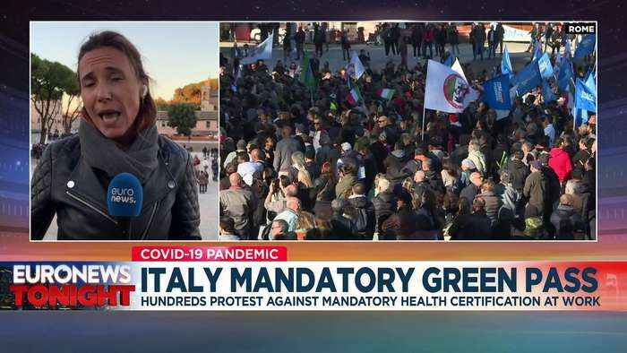 Protests across Italy as COVID pass becomes mandatory for workers