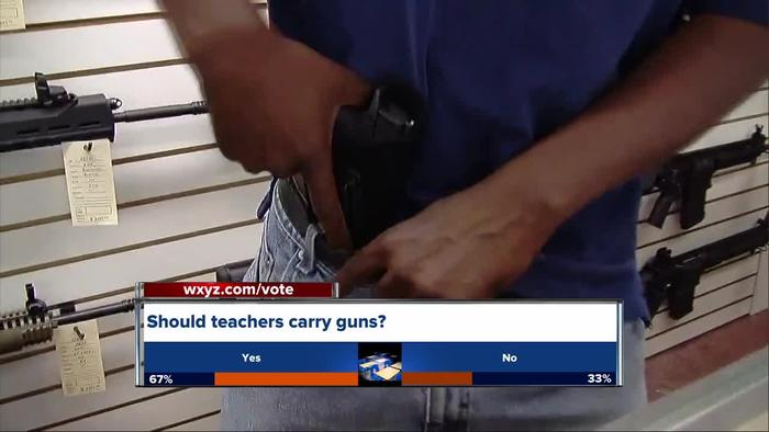 teachers authorized to carry weapons in 'it's my job to protect them': us teachers train to carry guns in class she wants to turn the us government into an arms dealer for schools that's insane, she added.
