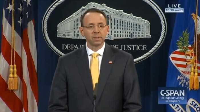 News video: Deputy Attorney General Rod Rosenstein Gives Statement On Robert Mueller Indictment Of I3 Russian Nationals