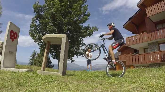 News video: Biker Rides Mountain Trails During Holiday in France