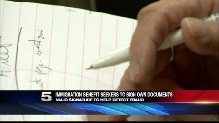 News video: Immigration Benefit Seekers Must Sign Own Documents