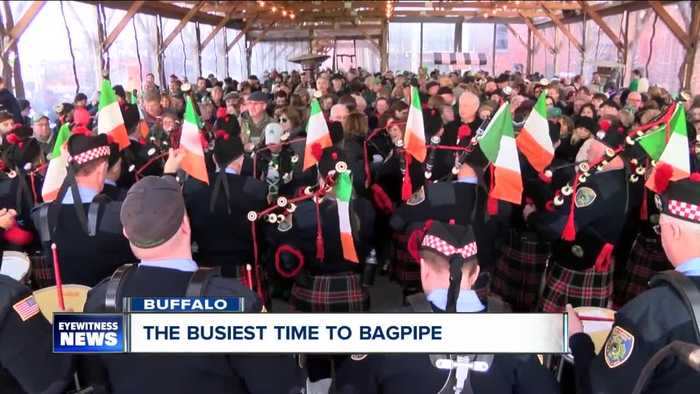 News video: Bagpipers: some of the busiest people on St. Patrick's Day