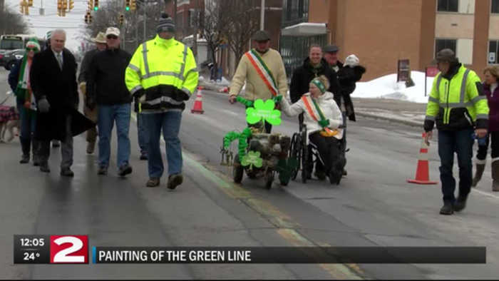 News video: Judy Weeks leads painting of the green line