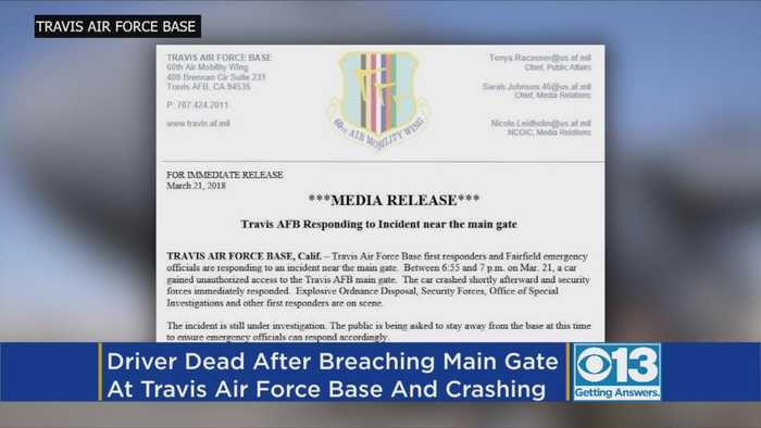 News video: Driver Dead After Crashing At Travis Air Force Base