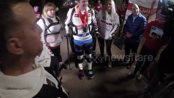 News video: Simon Kindleysides becomes first paralysed man to complete London Marathon after 26-hour race