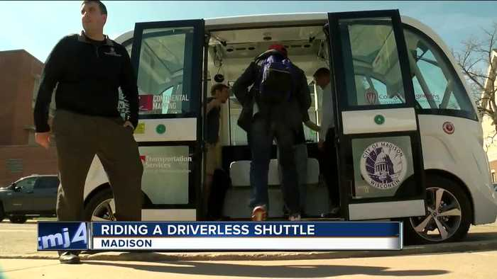 News video: Driverless shuttle cruises through UW-Madison campus delivering free rides