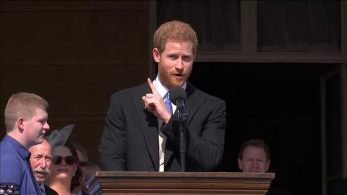 News video: Prince Harry stung by bee, praises his father in royal engagement