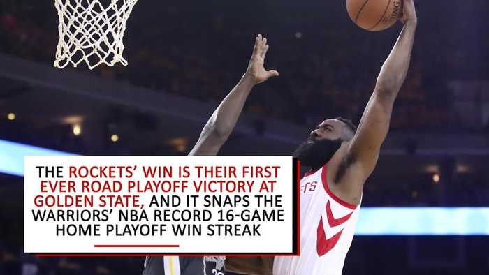 News video: Rockets Snap Warriors' 16-Game Home Playoff Win Streak With Game Four Win