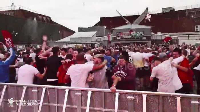 News video: England supporters go wild in Peterborough after Harry Kane's last-minute goal