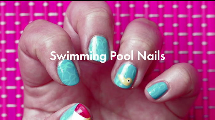 This Swimming Pool Nail Art Is Perfect For One News Page Video