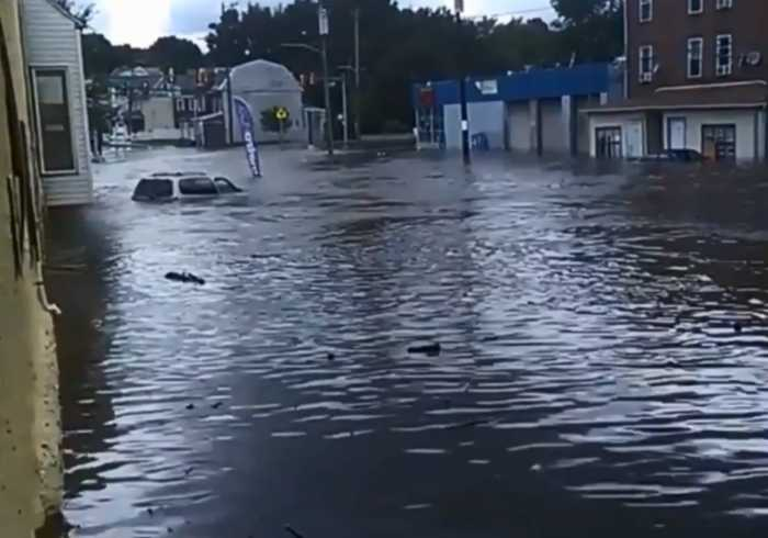 Streets Flooded in Darby, Pennsylvania, After Heavy Rain