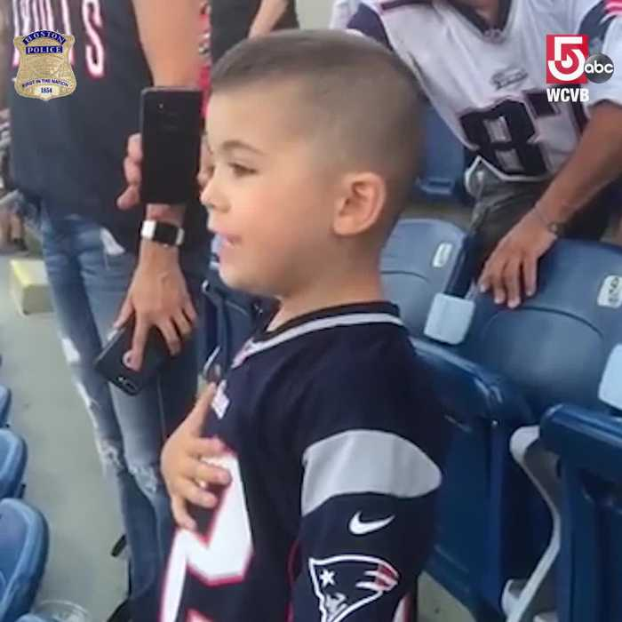 Son of two officers sings cutest rendition of National Anthem