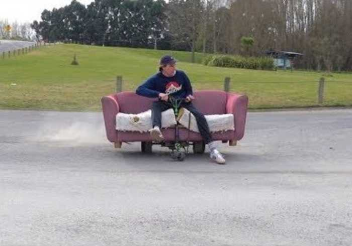 Man Invents 'Motorized Drift Couch'