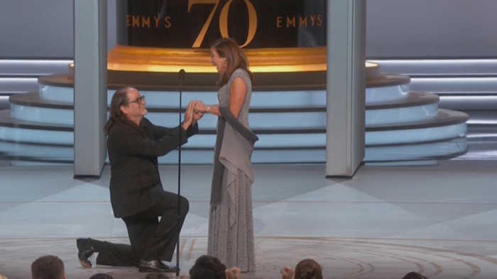 Emmy winner proposes on stage