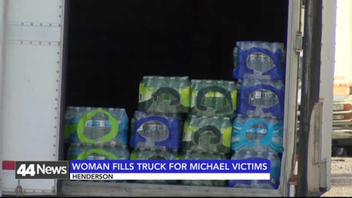 Woman Fills Trailer With Hurricane Michael Relief Supplies