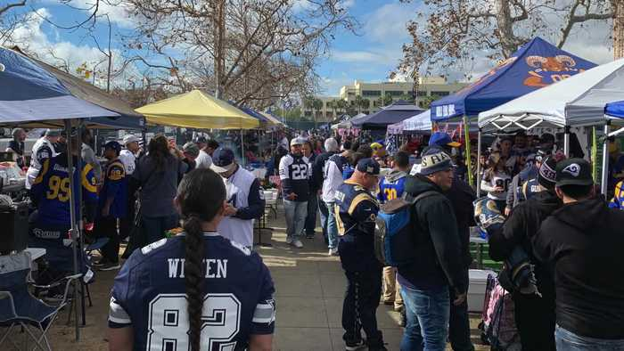 Tailgaters Hyped For Dallas Cowboys Vs Los Angeles Rams Playoff Game