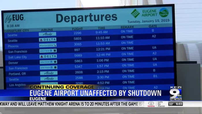 Eugene airport unaffected by government shutdown