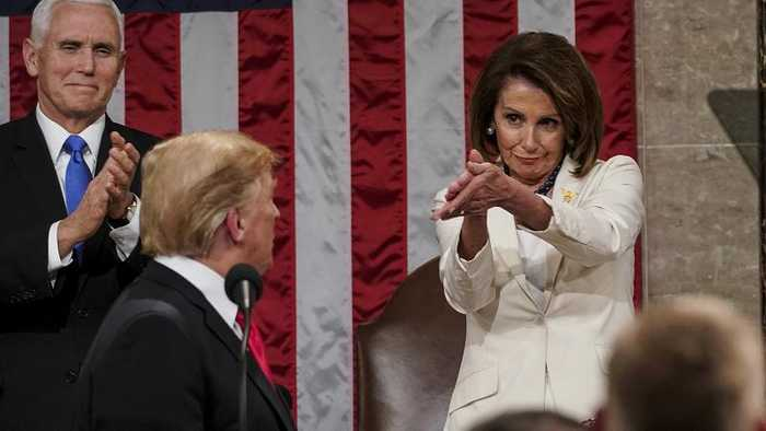 When Trump called for compromise, Pelosi clapped like this...