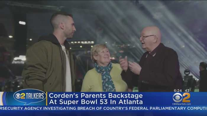 James Corden's Parents Backstage At Super Bowl 53