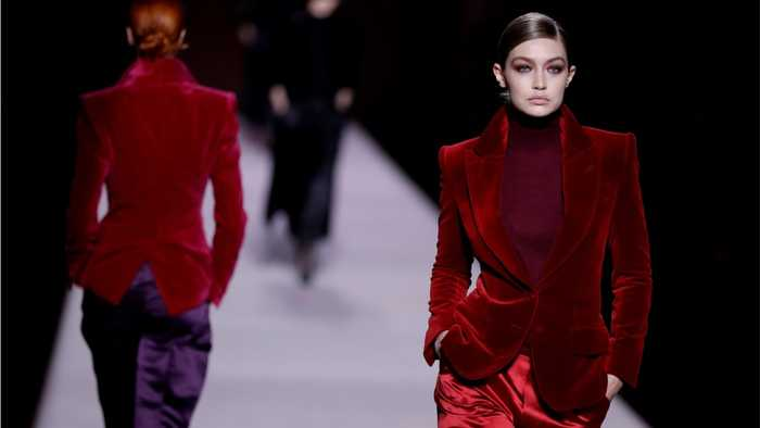 Gigi Hadid Wore A Red Velvet Jacket With Matching Satin Pants