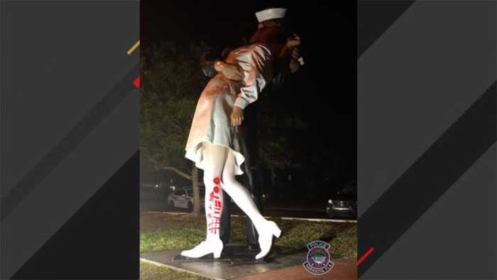 Vandal Paints #MeToo On Statue Of WWII Sailor Kissing A Woman