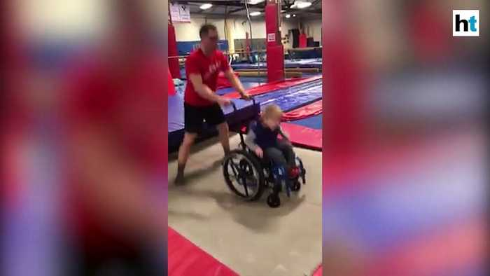 Watch: Boy in wheelchair jumps, enjoys on trampoline