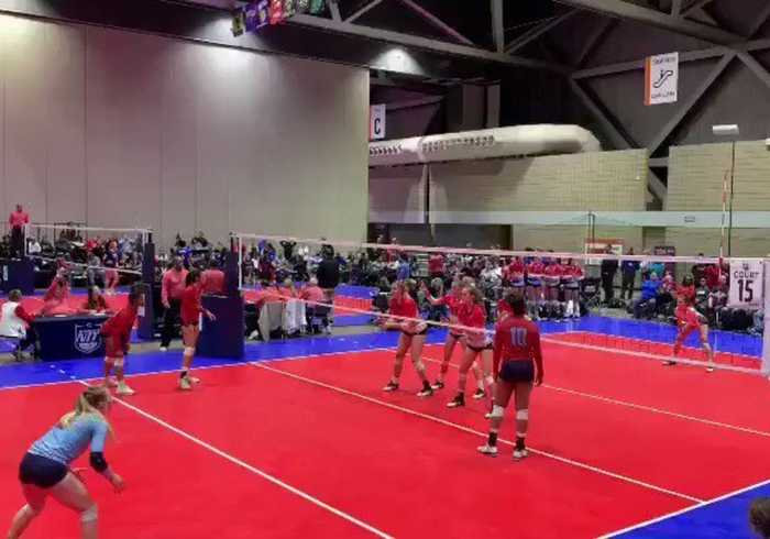 Volleyball Player Makes Flying Leap Into Crowd in Bid for Victory at Kansas Tournament