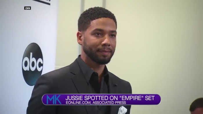 Jussie Smollett on set of
