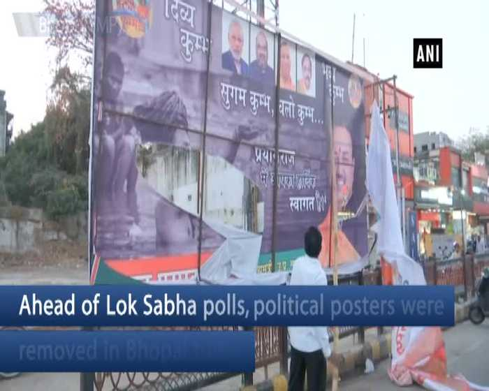 Political posters removed in Bhopal ahead of Lok Sabha polls