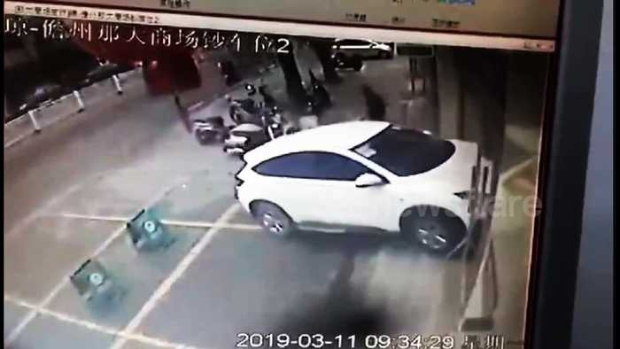 Security guard narrowly escapes death after SUV driver mistakes accelerator for brake