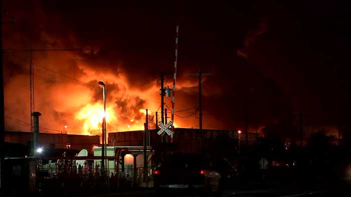Houston petrochemical fire rages on