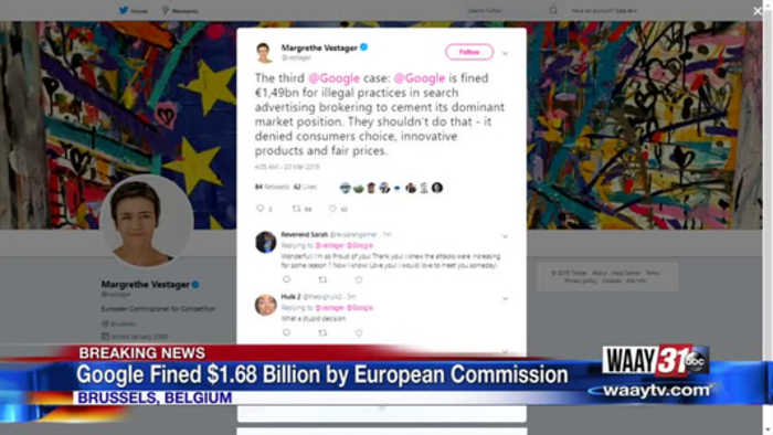 Google Fined $1.68 Billion by European Commission