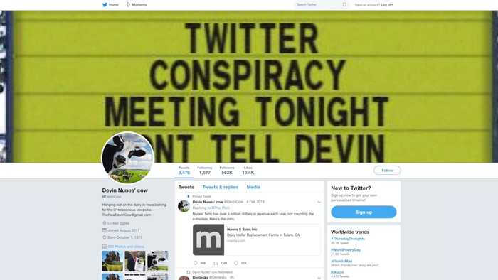 'Devin Nunes' Cow' Parody Account Now Has More Twitter Followers Than the Real Devin Nunes