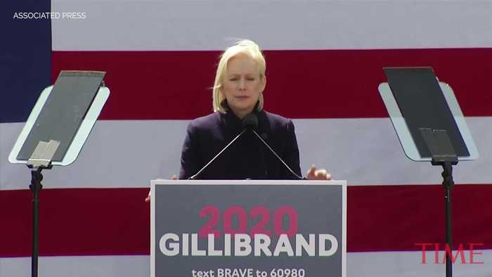 Sen. Kirsten Gillibrand Calls President Trump a 'Coward' in a Speech Outside Trump Hotel