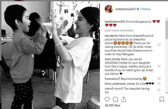 Katie Holmes visits refugees with Suri