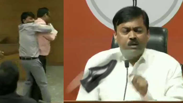 Shoe hurled at BJP spokesperson GVL Narasimha Rao during press conference | Oneindia News