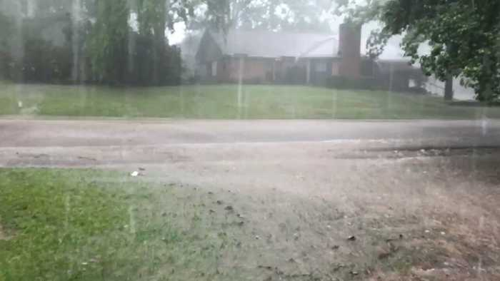 Heavy Rain Falls in Clinton as Tornado Warning Issued