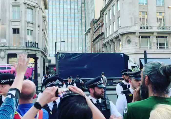Police Remove Pink Boat From Extinction Rebellion Protest Site in London