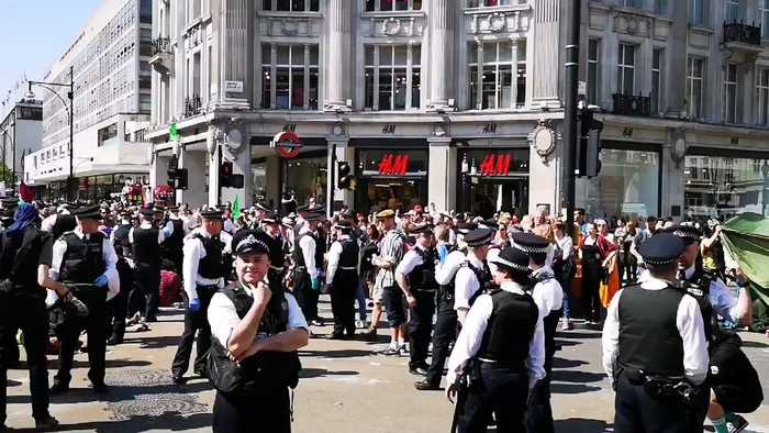 Police Congregate at Oxford Circus Climate Protest Camp