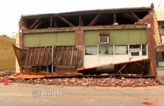 Severe weather damages buildings in South Carolina following tornado watch.