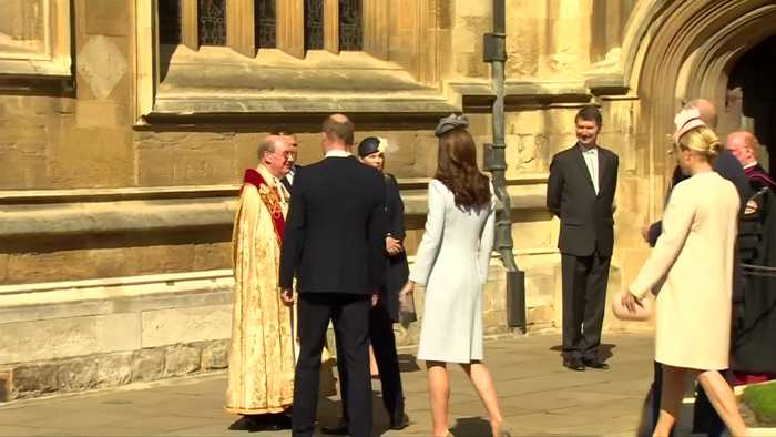 Royal family greet Queen Elizabeth on 93rd birthday at Easter service
