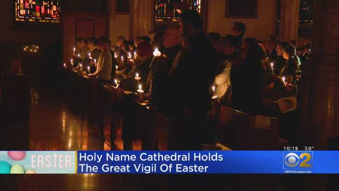 Holy Name Cathedral Holds Great Vigil Of Easter