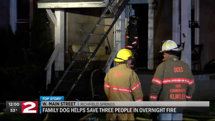 Family dog helps save three after overnight fire in Richfield Springs
