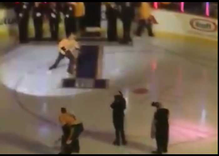 Gavin DeGraw Falls Hard on Ice After Singing National Anthem at Hockey Game