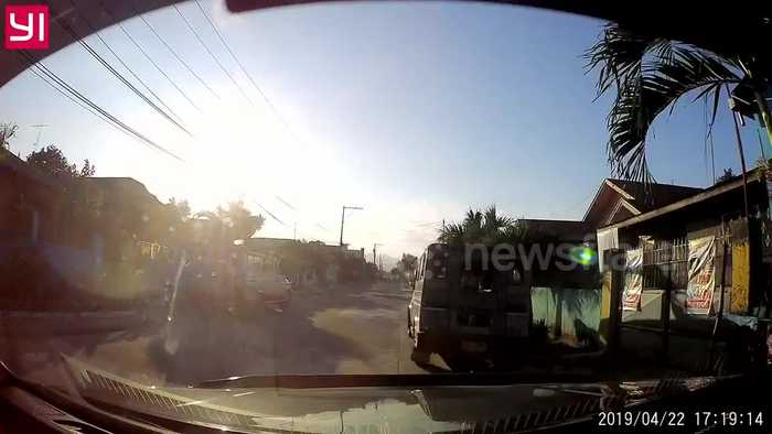 Dashcam footage shows vehicles shaking as earthquake hits the Philippines