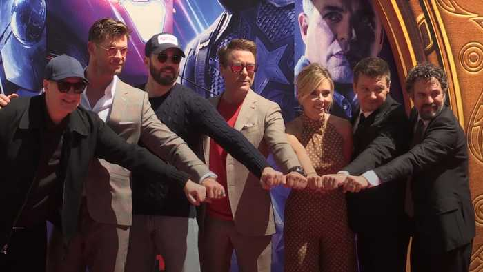 Avengers immortalised in cement at Hollywood's Chinese Theatre