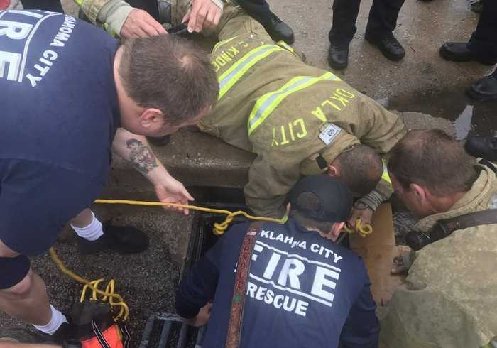 Firefighters Rescue Man From Storm Drain in Oklahoma City