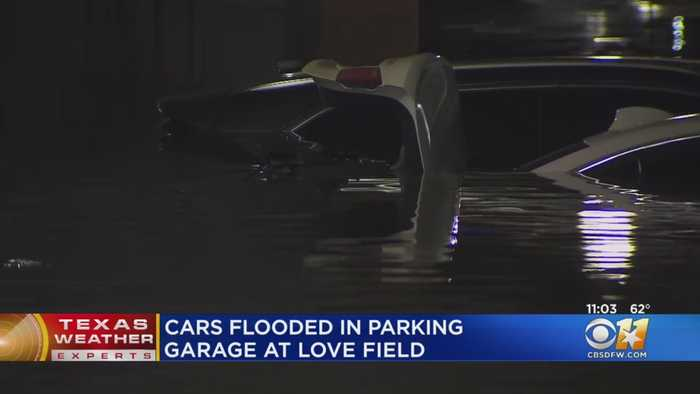 Cars Flooded In Parking Garage At Dallas Love Field Airport