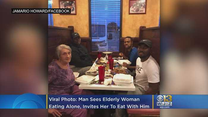 Viral Photo: Man Sees Elderly Woman Eating Alone, Invites Her To Eat With Him